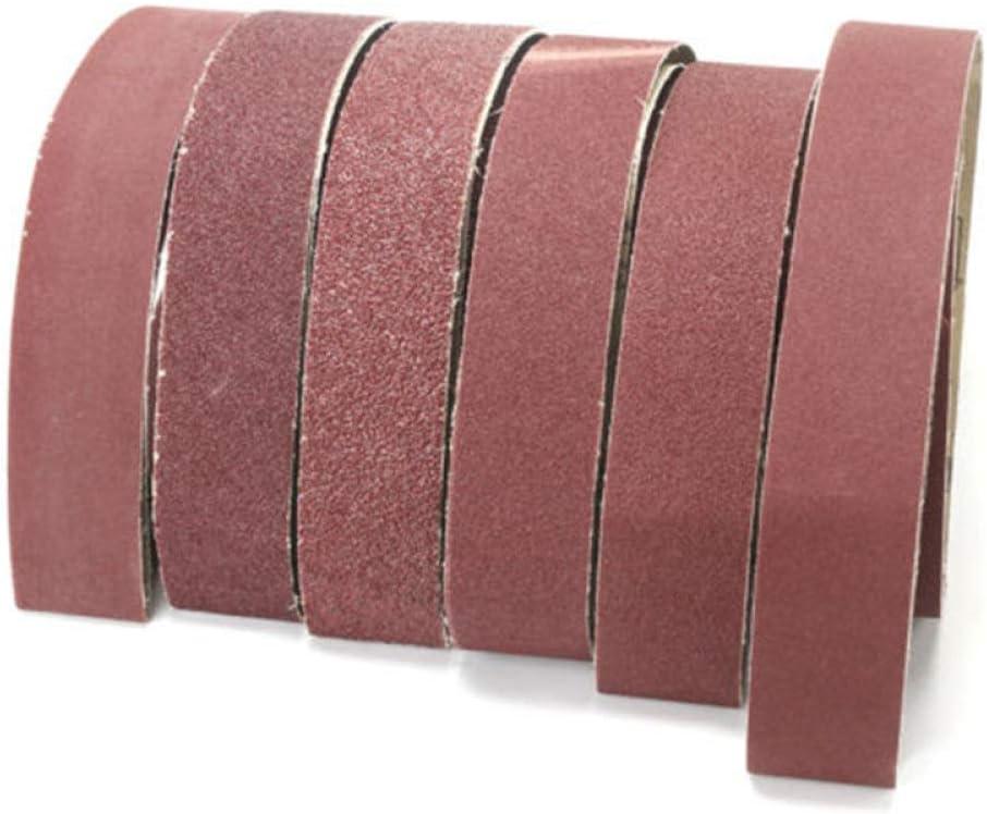 GIPOTIL Papel de lija Paquete de 6 bandas de lijado 2x72 36//40//60//80//120//150 Banda abrasiva pulidora de arena F