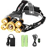 Neolight LED Headlamp, Super Bright 5 LED High Lumen Rechargeable Zoomable Waterproof Head Torch Headlight Flashlight for Outdoor Hiking Camping Hunting Fishing Cycling Running Walking