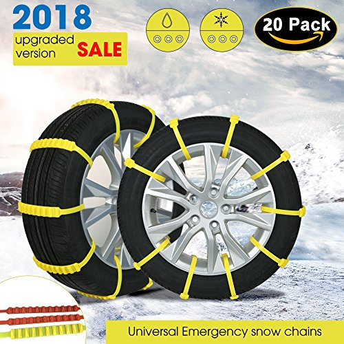 Diagtree 【Updated Version】 Update 3rd Snow Chains Anti Skid Tire Chains Adjustable Emergency Traction Aid for Vehicle Car Vans SUV 10pcs Anti-Slip Chain-Width 145-295mm/5.8-11.6'' (10 Pack)