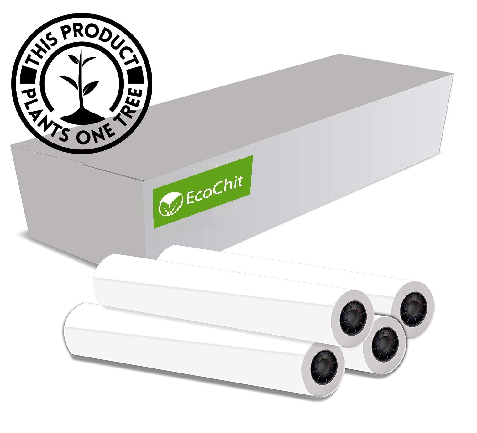 EcoChit CAD Paper Rolls, 24'' x 150', 92 Bright, 20lb - 4 Rolls Per Carton - Ink Jet Bond Rolls with 2'' Core by EcoChit