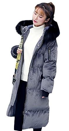 35b2a5dbc7c Beloved Women s Winter Long Sleeve Velvet Plus Size Zipper Faux Fur Puffer  Hooded Coat Grey XXS
