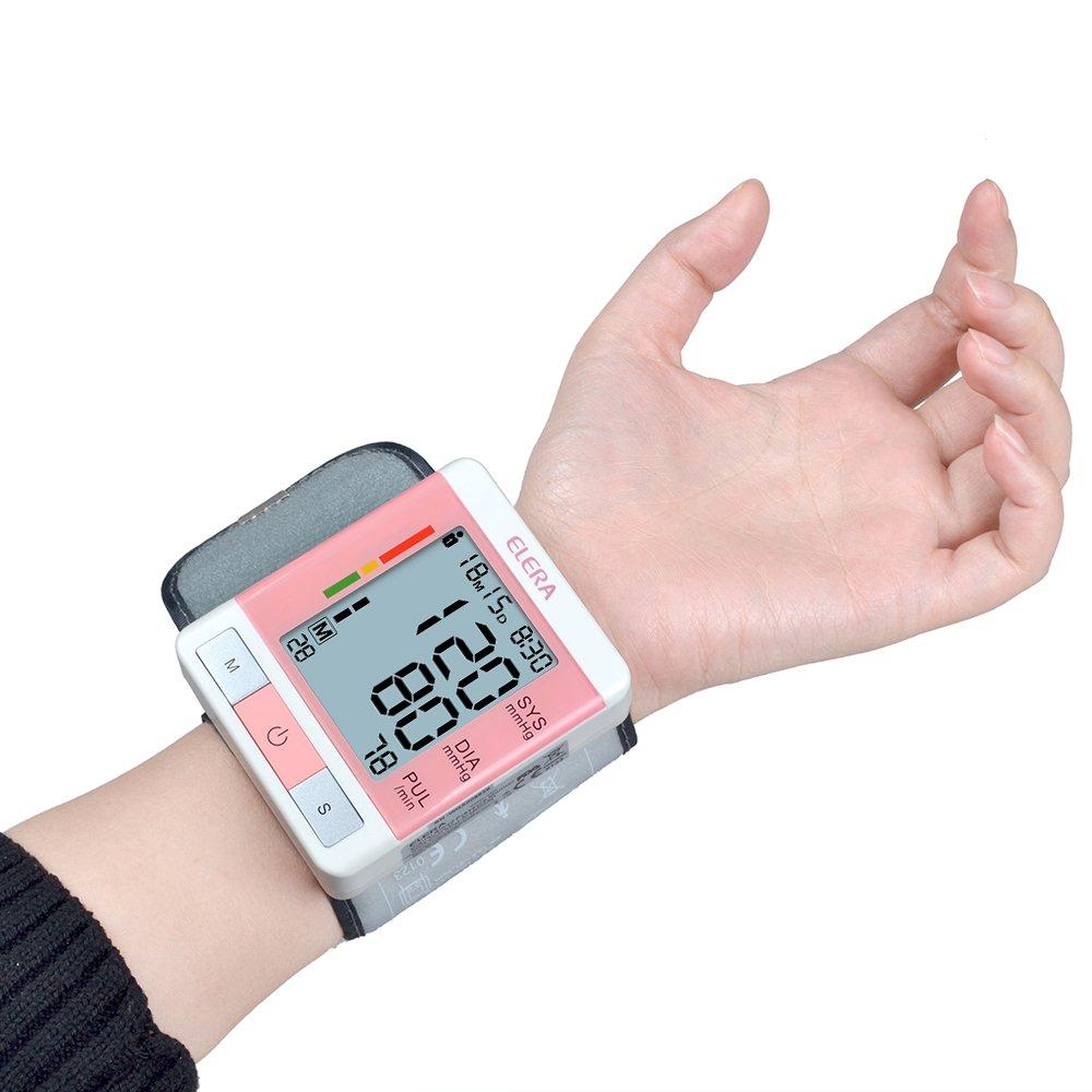 Elera - Tensiómetro de muñeca electrónica Monitor la tensión arterial y la Ritmo Cardiaco con una Gemelos de muñeca digital automático y una caja (rosa): ...