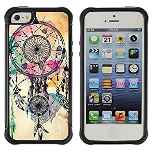 KROKK CASE Apple Iphone 5 / 5S - dream catcher Indian watercolor native - Rugged Armor Slim Protection Case Cover Shell