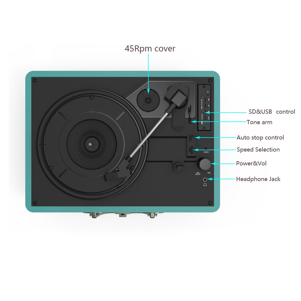 Record Player, MSTING Turntable Bluetooth for Vinyl Record 3 Speed with Two Dual Stereo Speakers Belt Drive Turntable with Headphone, RAC,USB/SD Card Recording by MSTING (Image #4)