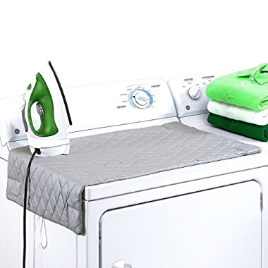 MoGuYun Ironing Blanket, Magnetic Mat Laundry Pad, 33 x 18 , Gray, Washer Dryer Heat Resistant Pad, Iron Board Alternative Cove