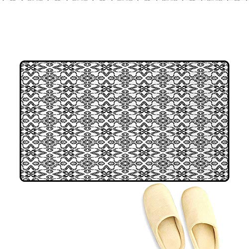 Bath Mat,Portuguese Azulejo Tiles Pattern with Monochrome Flowers European Design,Door Mats Area Rug,Black White,Size:16