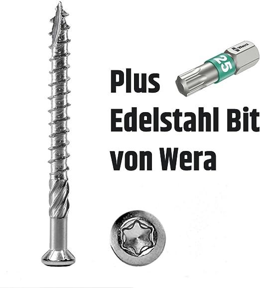 8x Wera Edelstahl Bit Torx 25 inkl Terrassenschrauben 5 x 60 T-INOX 4000 St/ück Edelstahl geh/ärtet C1
