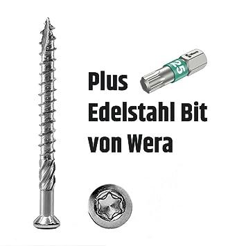 Terrassenschrauben Edelstahl C1 5x40mm 400 St incl PROFICA Bit Torx 25 VA
