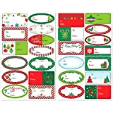 Amscan Very Merry Christmas Holiday Borders Adhesive Gift Label Party Favors, Multicolor