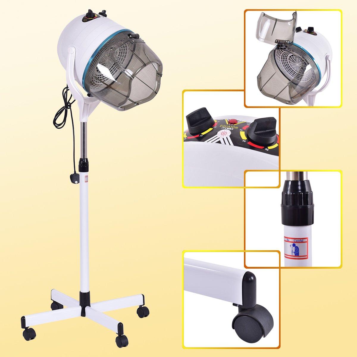 Costway Hair Dryer Hood Portable Salon Hairdryer Stand Professional Hairdresser Floor White