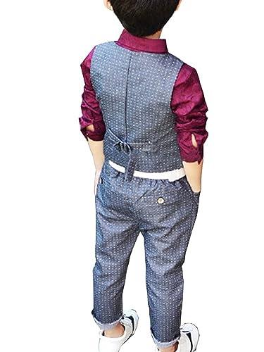Vdual Vestiti Bambino Abiti Cerimonia Bimbo Ragazzo Eleganti Abbigliamento  Matrimonio Gilet E Pantaloni Lunghi Abiti da sposa formali  Amazon.it  ... 855cb915e05