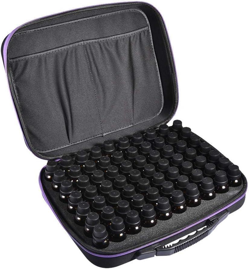 Titular de 70 Botellas de Aceite Esencial portadocumentos de Viaje con Caja de Almacenamiento de Espuma Dura con Carcasa Dura y Etiquetas para Botellas de 15/10/5: Amazon.es: Hogar