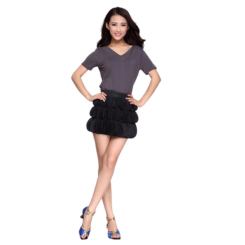 Womens Ballroom Dress Rivet Single Shoulder Latin Dance Skirt Party Dress