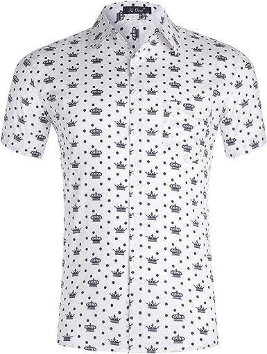 Camisa De Manga Corta A Lunares En Color Liso De Estilo Nuevo para Hombres De Verano: Amazon.es: Ropa y accesorios