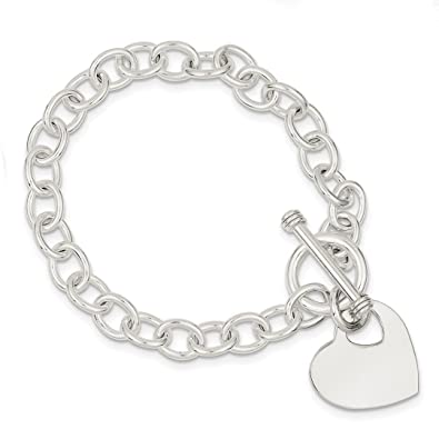 c71527d7b Amazon.com: 925 Sterling Silver Engraveable Heart Disc On Link Toggle  Bracelet 7.75 Inch Charm W/charm/love Fine Jewelry Gifts For Women For Her:  Jewelry