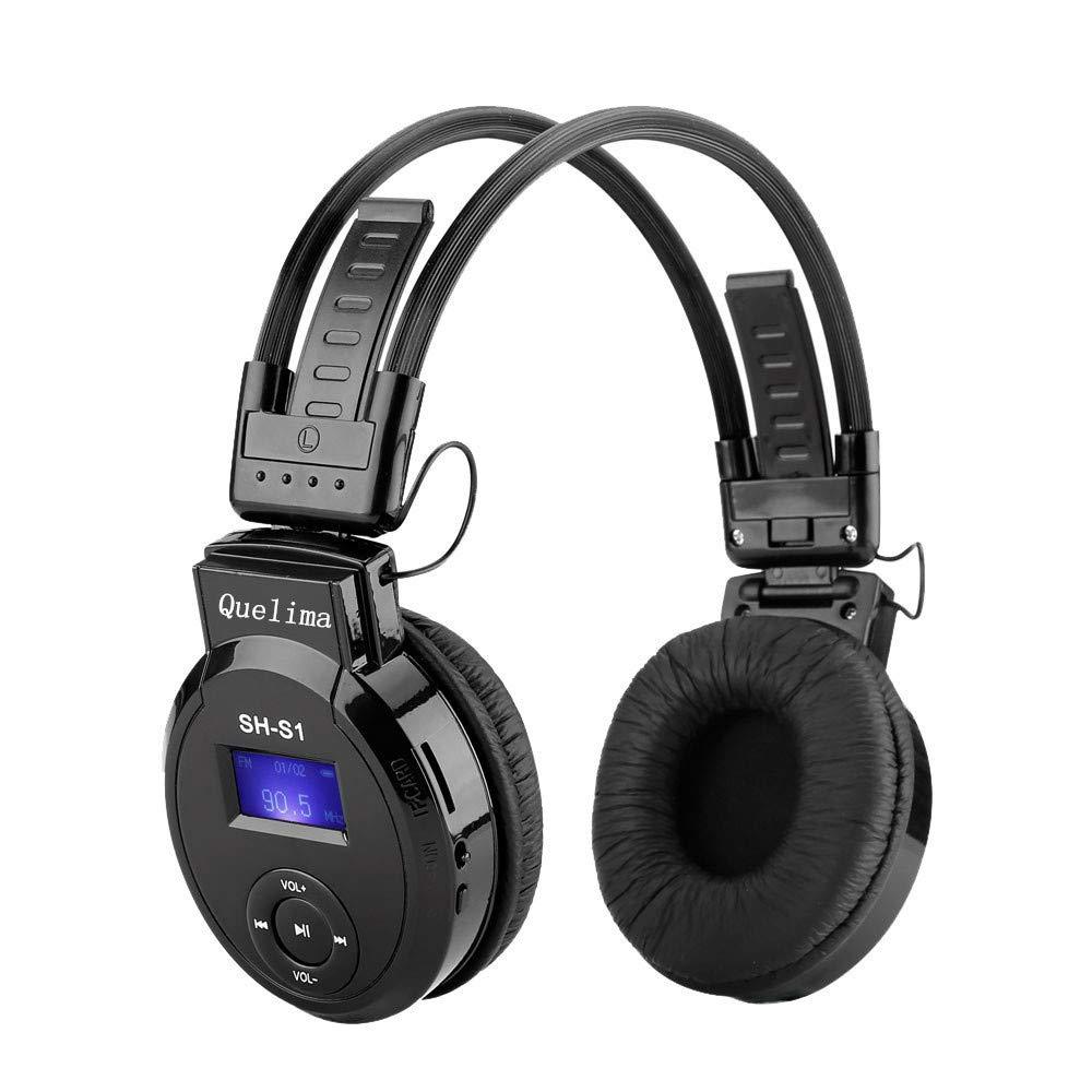 Foldable Headphone, On-ear Wireless Card Headset Sports Hheadset Black LED FM Radio Headphone Support TF Card Charged Earphone LCD screen (Black)