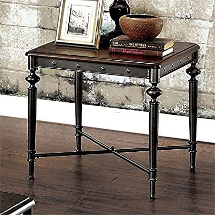 Amazon.com: Furniture of America Glynis Industrial End Table ...