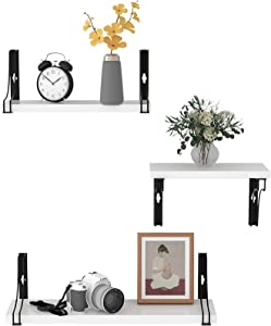 WELLAND White Floating Shelves Wall Mounted Shelves Set of 3 for Bathroom Bedroom Living Room Kitchen, 11inch, 14inch, 16inch