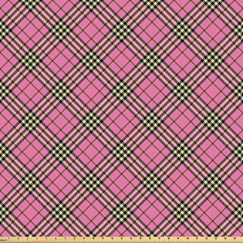 (Lunarable Geometric Fabric by The Yard, Traditional Ethnic Tartan Pattern Scottish Striped Checkered Graphic Tile Print, Microfiber Fabric for Arts and Crafts Textiles & Decor, 3 Yards, Pink Black)