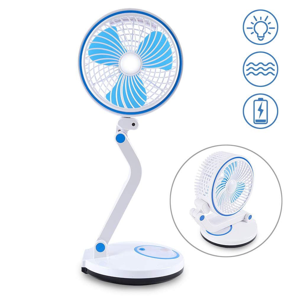 VERTAK GTAM6015 LED Desk 2 Speeds Portable Foldable USB Personal Fan with Night Breathing Light for Home, Office, Travel, Camping, Outdoor, Indoor, Blue by VERTAK