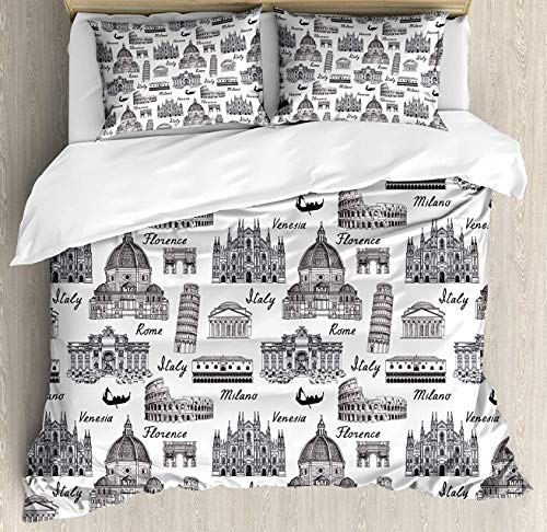 Hostline City Duvet Cover Set Twin Size, Monochrome Sketch Style Famous Places from Italy Rome Milano European Architecture, Decorative 4 Piece Bedding Set with 2 Pillow Shams, Black White