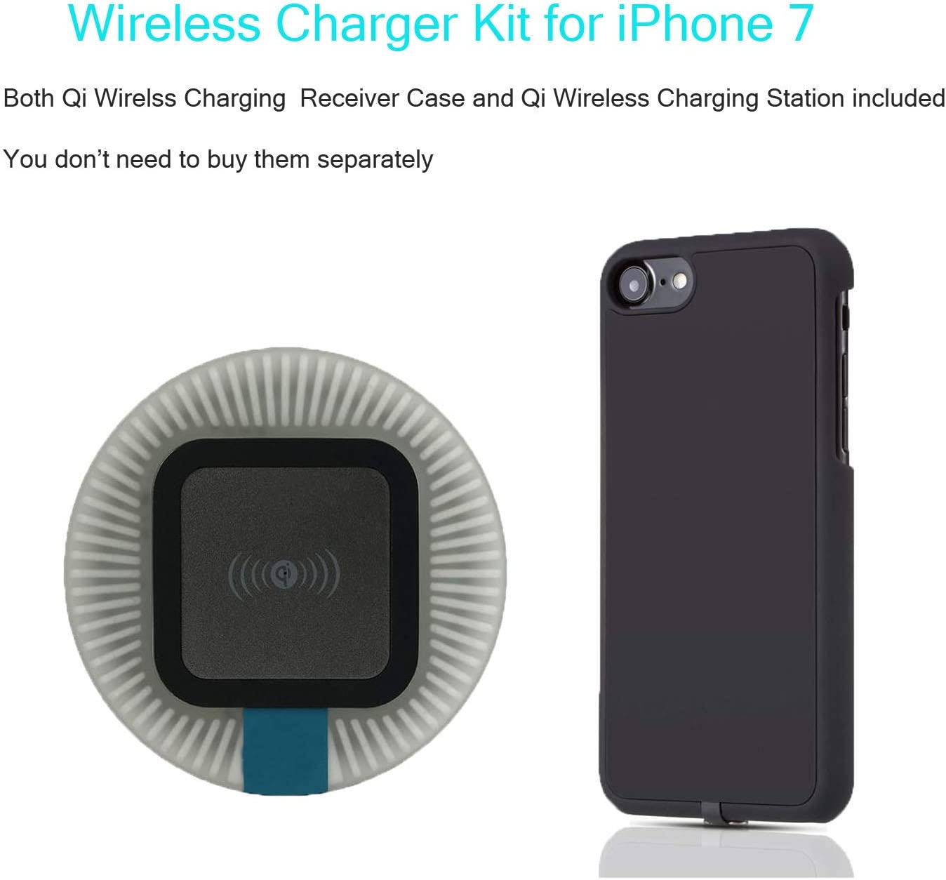 2 in 1 Qi iPhone 7 Wireless Charger Kit Include Qi Charger Base and Qi Case | Flexible Connector | Delicate Rubber Black Case 4.7