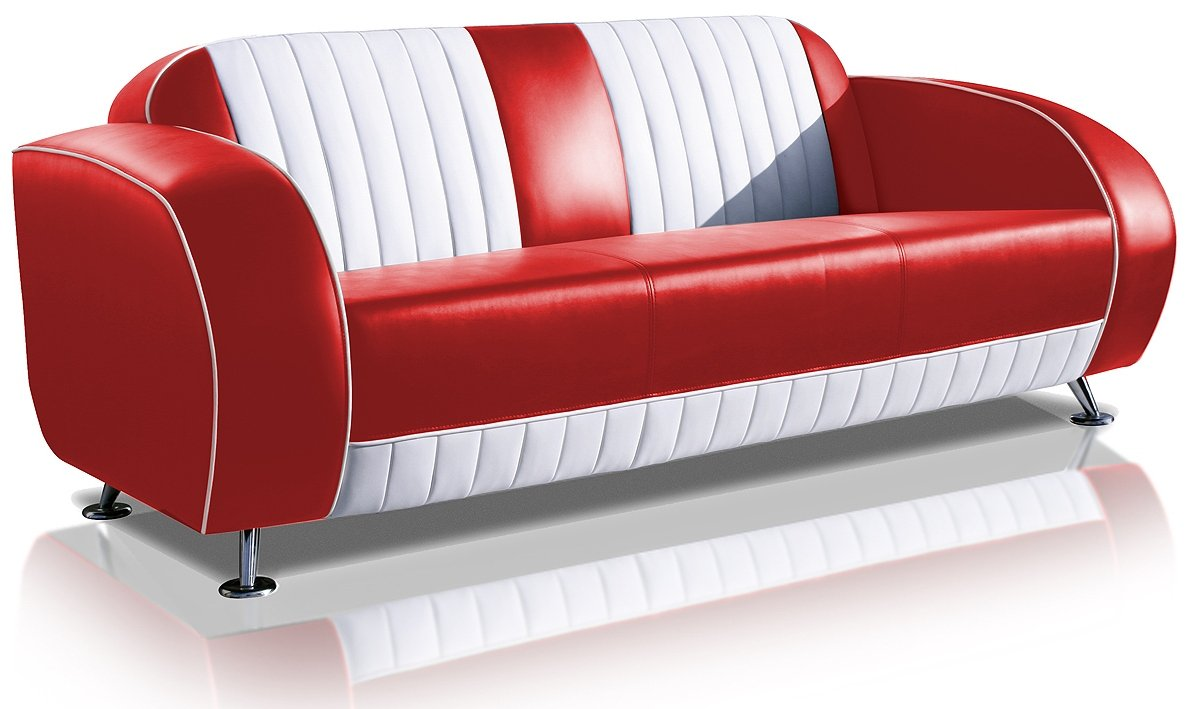 Sofa Dinersofa retro Style Couch Lounge Designer Sofa Wartemöbel (Red/White)