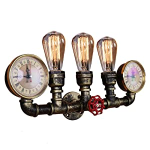 OYI Retro Industrial Steampunk Wall Sconce, 3 Lights Metal Water Pipe Style Wall Mounted Lamp Light Fixture in Antique Bronze