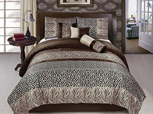 Kenya Zebra (Dovedote Kenya Zebra Leopard Animal Print Faux Silk Comforter Set, King, 7)