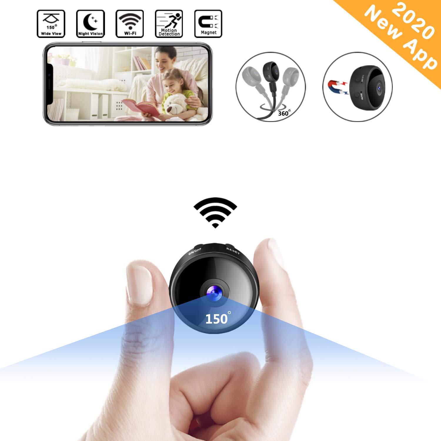 CreateGreat Mini Spy Camera Wireless Hidden WiF Camera HD 1080P Portable Home Security Cameras Nanny Cam Small Indoor Video Recorder Motion Activated Night Vision by CreateGreat