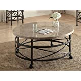 Simple Relax 1PerfectChoice Nestor Round Marble Top Antique Black Coffee Table