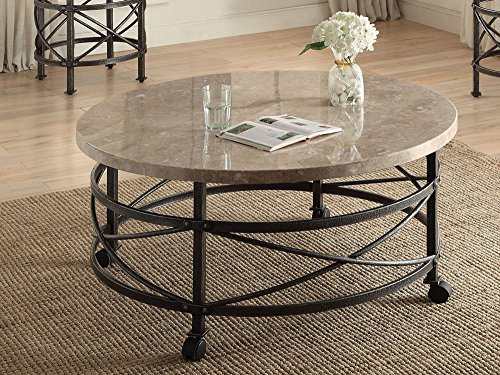 Simple Relax 1PerfectChoice Nestor Round Marble Top Antique Black Coffee - Antique Marble Tables