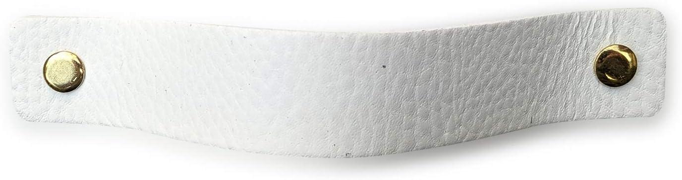 Poignee Cuir 16,5 x 2,5 cm Poignee armoire Poign/ée de porte Poignee de meuble cuisine Blanc // Lot de 6 Cuir pleine fleur Avec 3 vis color/ées