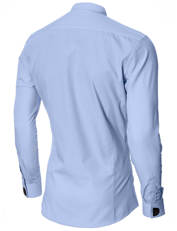 MODERNO Mens Dress Shirts Slim Fit Grandad Mao Collar Long Sleeve (MOD1427LS) at Amazon Mens Clothing store:
