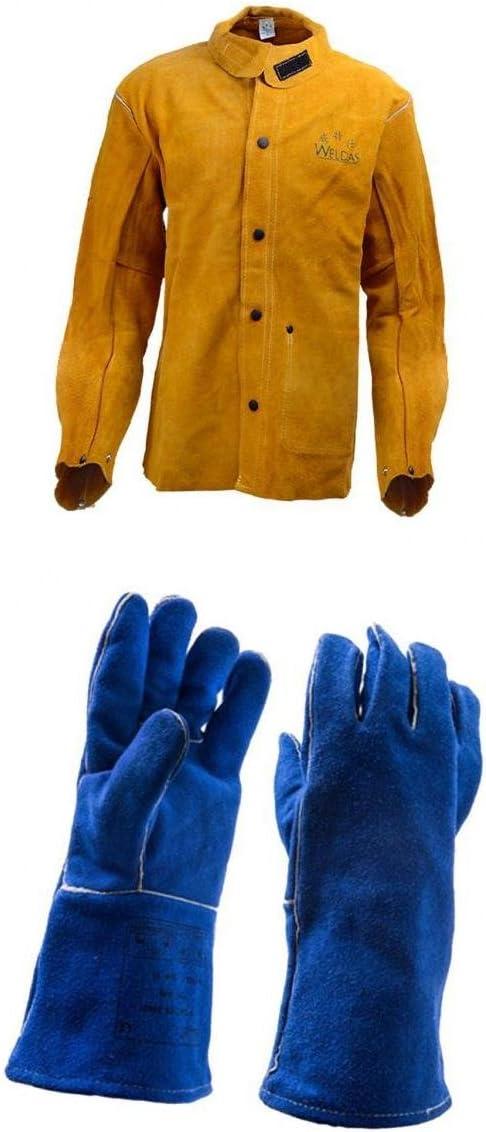 Gazechimp 4 ños M- XXL Camisa De Soldar De Cuero Chaqueta Y Guantes Azul - L Chaqueta de Soldadura y Guantes: Amazon.es: Jardín