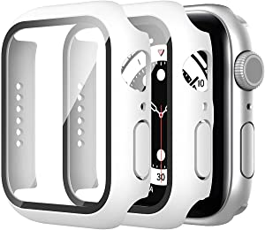 Suoman 2 Pack Compatible for Apple Watch SE Series 6 5 4 40mm Case, 9H Tempered Glass Screen Protector + Bumper Full Protective Hard Cover Case for iWatch 40mm - White