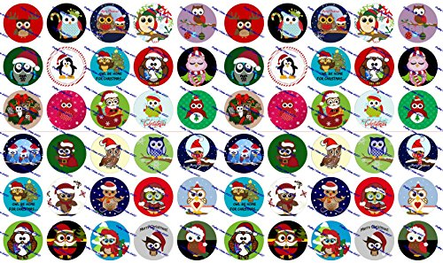 60 Precut Bottle Cap Images Christmas Owls Set 1