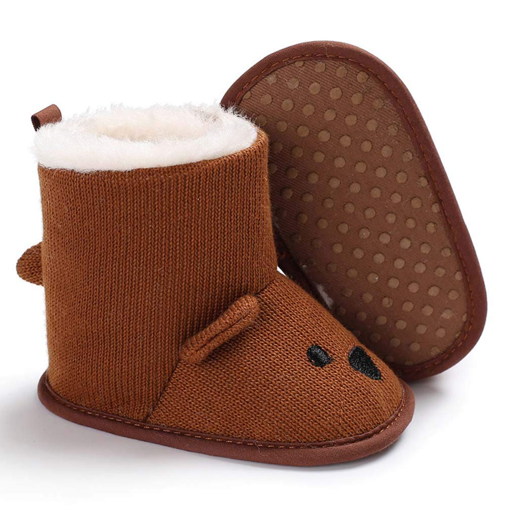 Baorong Baby Boys Girls Knit Woolen Yarn Soft Sole Bear Cartoon Winter Boots