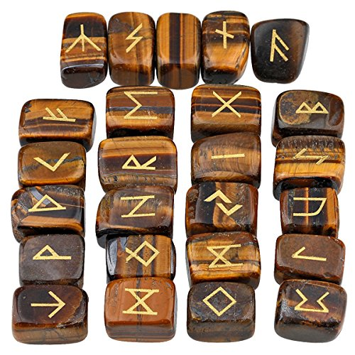 mookaitedecor Rune Stones Set with Engraved Elder Futhark Alphabet Crystal Meditation Divination,Tiger's (Tiger Eyes Magnet)