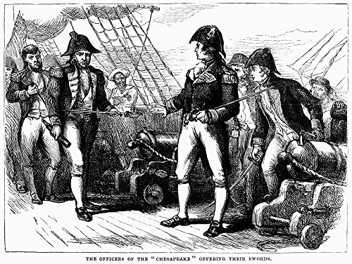 Uss Chesapeake 1807 Ncaptain James Barron Of Uss Chesapeake Offering His Sword To Captain SP Humphreys Boarding From Hms Leopard Following Their Engagement Off Hampton Roads Virginia On 22 June 1807 W