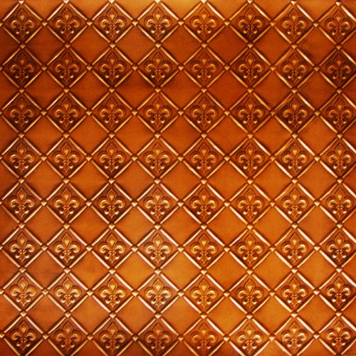 Decorative Hammered Roof Accent (Discount Cheap Kitchen Backsplash Faux Decorative WC-80 Antique Copper Plastic Wall Covering Fire Rated - 25ft.x 2ft. Roll Decorative!glue On,nail On,staple On,tape On! fleur De Lis.)