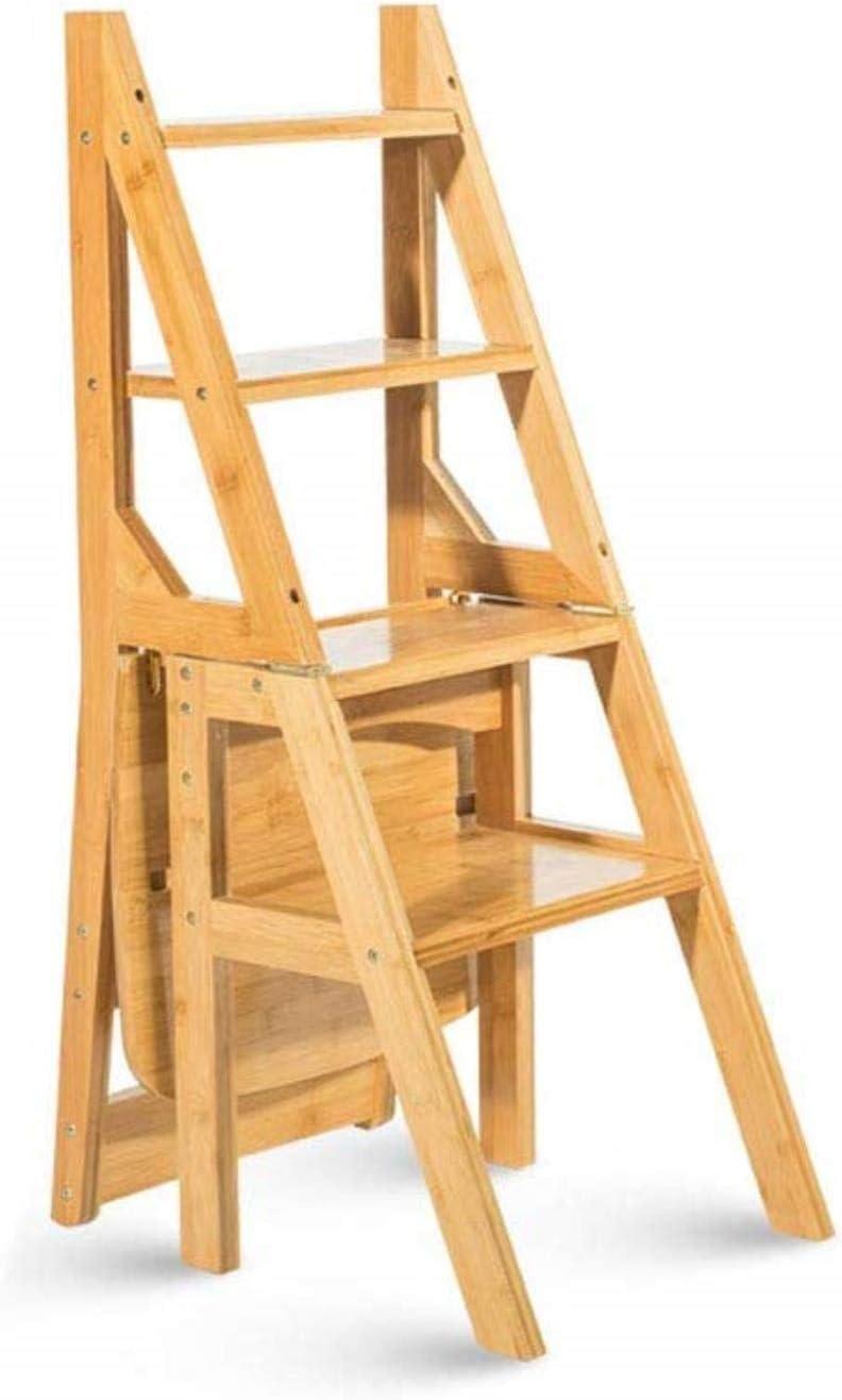 IVNZEI Transformación innovadora Creativa Plegable Desplegable Biblioteca Pasos Escalera Plegable Silla de Oficina Uso de Cocina de bambú Natural de Color: Amazon.es: Hogar