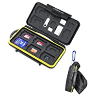Beeway® Memory Card Case Holder 23 Slots for 8x SD/SDHC/SDXC, 8x Micro SD/TF, 2x SIM, 2x Micro SIM and 3x Nano SIM Cards with Storage Bag and Carabiner Clip