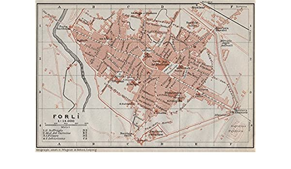 Forli Italy Map.Amazon Com Forli Forli Antique Town City Plan Piano Urbanistico