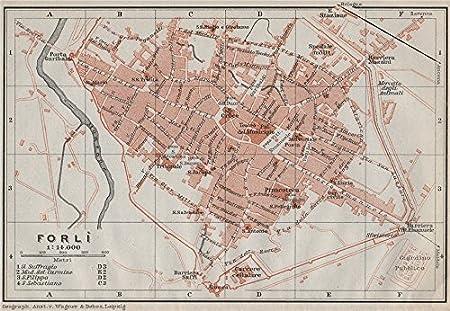 Forli Italy Map.Forli Forli Antique Town City Plan Piano Urbanistico Italy Mappa