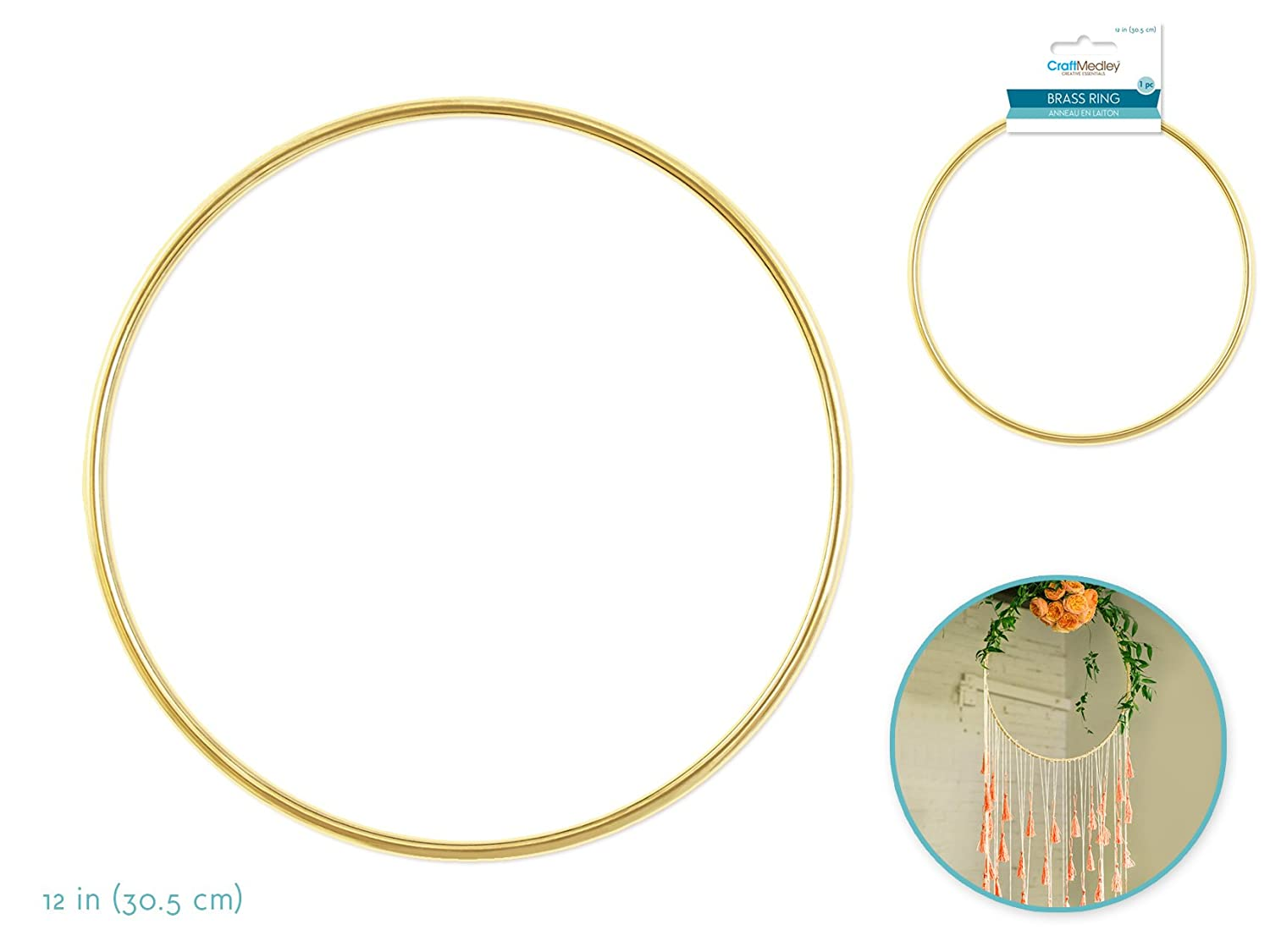 Round Large Metal Rings Hoops 8in + 12in + 14in + 14in Brass Metal Rings for Craft Macrame Dream Catcher Floral Jewelry Making Brass Rings