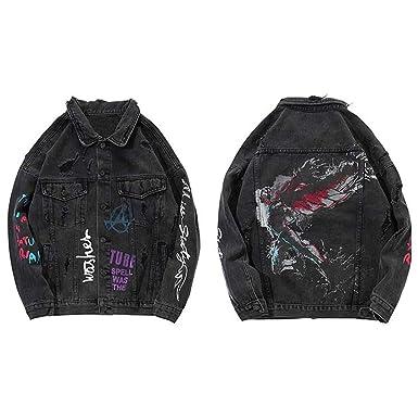 BACKBAL Mens Distressed Doodle Dream Angel Denim Jacket