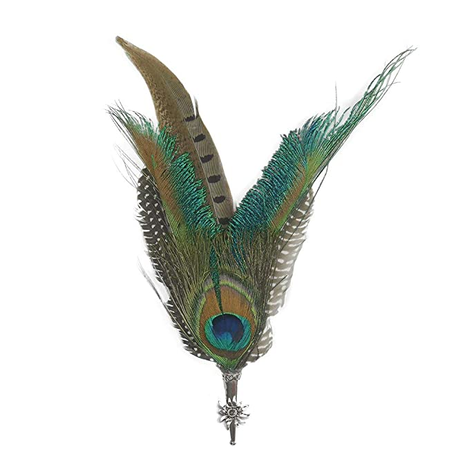 ce55debc62f5ab Peacock & Pheasant Feathers for German Oktoberfest Hunter Hat by E.H.G |  Metal Medallion Edelweiss Hat