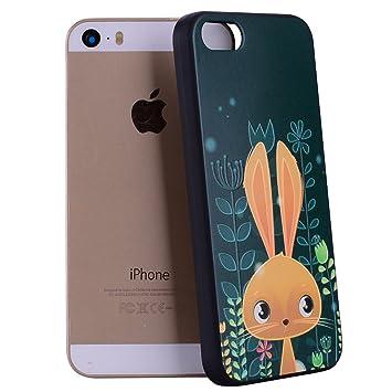 Yunbaozi Funda Compatible para iPhone 5, iPhone 5S Case Embossing Case Carcasa Suave Impresión 3D Caucho TPU Flexible Cáscara Delgado Ligero Alivio ...