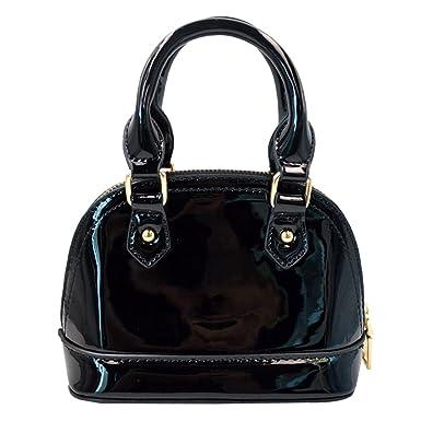 LA HAUTE Women Fashion Patent Leather Handbags Shiny Chain Shoulder Bag,  Black 194c8869d4